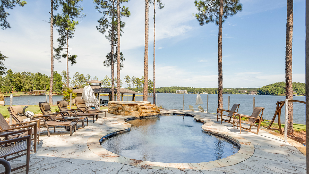 Waterfront Lake Martin Lakehouse Outdoor Kitchen